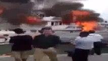 Teknede dehşet anları... Alevlerden denize atlayarak kurtuldular