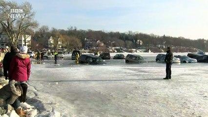 Frozen car park unexpectedly melts - BBC News