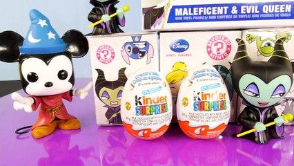 Maleficent Full Toys Set 2014 Funko Pop Disney Mystery Minis + Kinder Surprise Eggs Unboxi