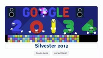 Silvester 2013 Neujahrstag 2014 Frohes neues Jahr (Google Doodle)