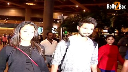 Pregnant Mira Rajput and Shahid Kapoor spotted at Mumbai airport