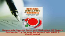 PDF  Homemade Sauces Rubs and Marinades 35 Savory Recipes to Try for Your Barbecue Party PDF Online