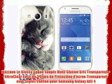 Muzzano Le Glossy Coque souple Motif Chaton Gris Transparent + UltraClear Pack de 3 Films de