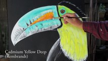 Oil Painting Demonstration, Painting a Toucan Time Lapsed