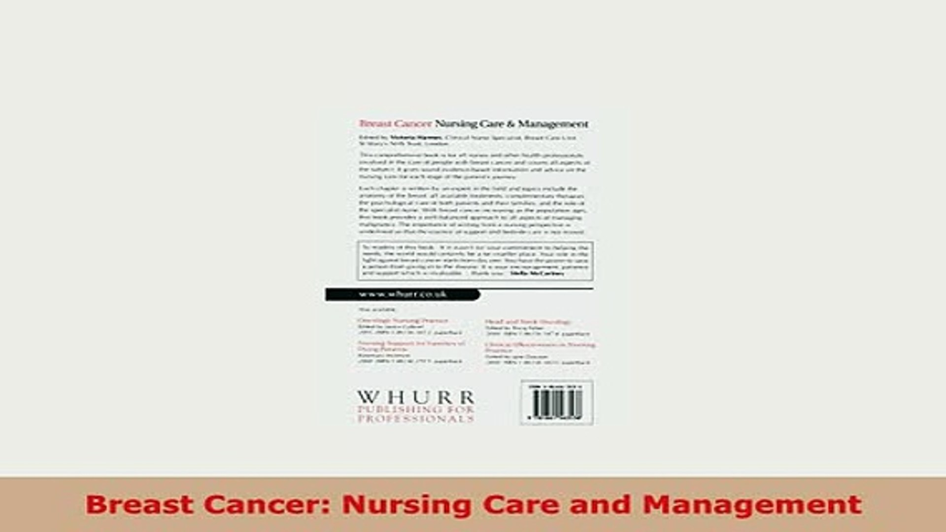 Download Breast Cancer Nursing Care and Management PDF Online
