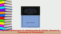 Download  Suicidal Behaviour in Adolescents  Adults Research Taxonomy  Prevention Read Online