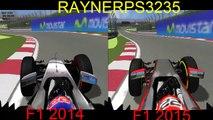 F1 2015 vs F1 2014 rFactor comparison   McLaren-Honda MP4-30 vs McLaren Mercedes MP4-29 on Canada