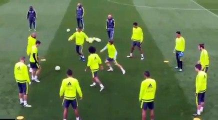 Modric empurra Cristiano Ronaldo em treino do Real Madrid