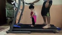 Child First Time On Treadmill - Gym & Running On Treadmill