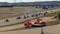 CIK-FIA European Champs KZ R2 Zuera, Start heat 2 with crash