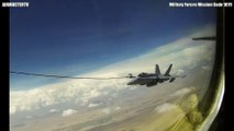 MASSIVE STRATOTANKER KC-135 refuels F/A 18 Hornets  MID AIR