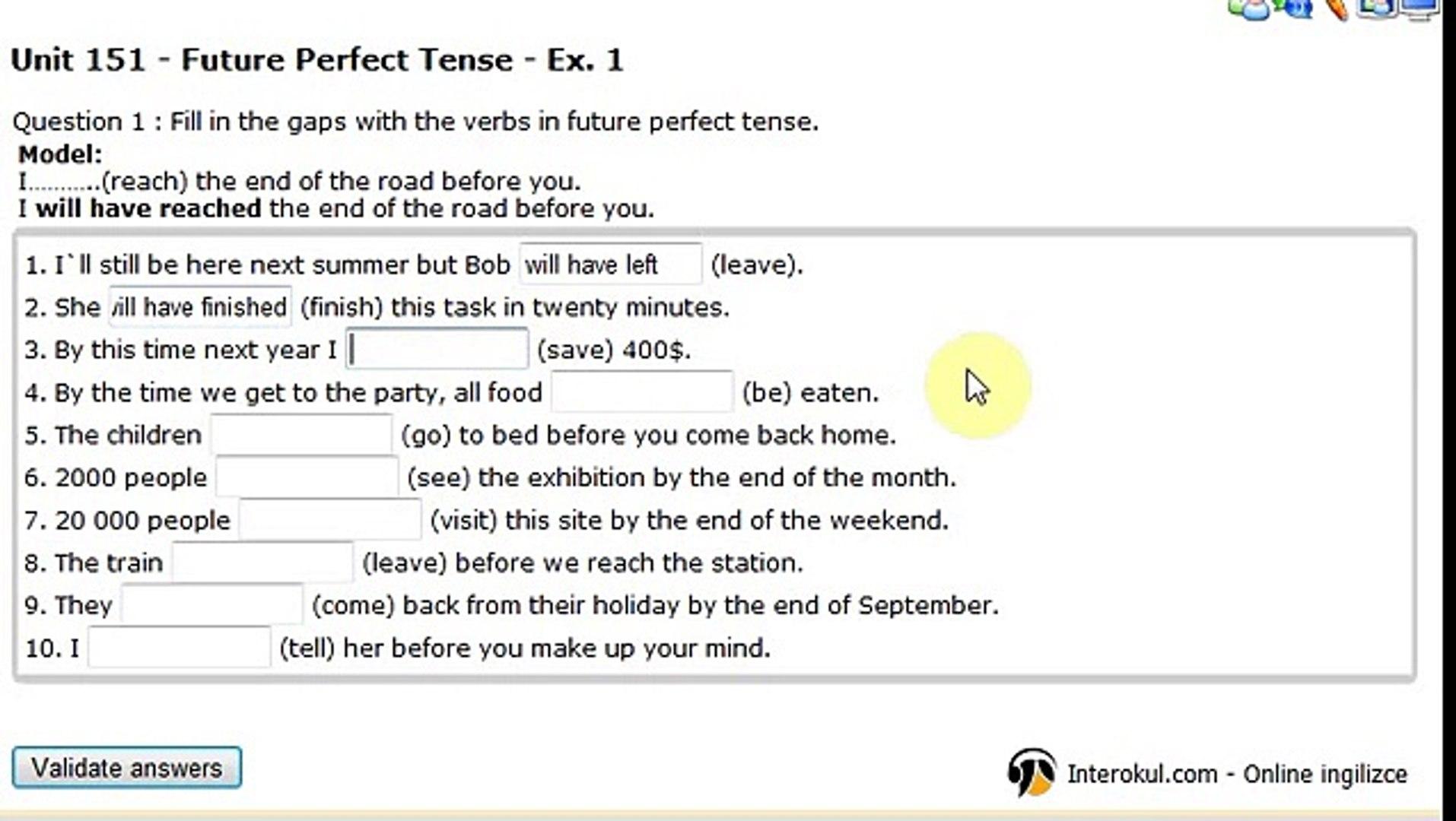 Interokul.com (Learn English Online): Unit 151 Future Perfect Tense exercise 1