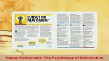 PDF  Happy Retirement The Psychology of Reinvention Download Full Ebook
