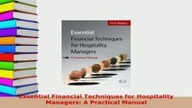 PDF  Essential Financial Techniques for Hospitality Managers A Practical Manual Read Full Ebook