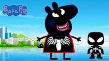 PEPPA PIG Transforms Into Marvel Comics VENOM & DRAGON BALL Z Goku Coloring Videos For Kids