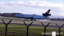 Manchester Airport   Lufthansa Cargo Landing and Take-off *STEEP TAKE-OFF* 15-02-2016