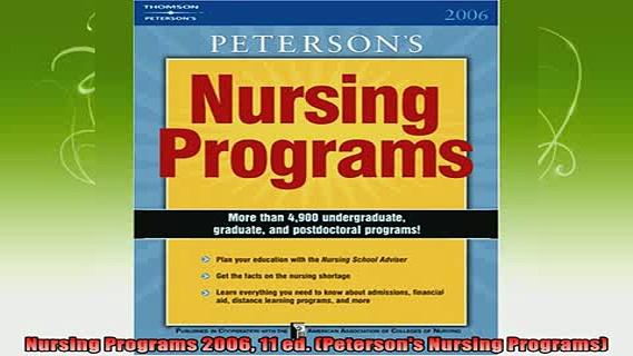 best book  Nursing Programs 2006 11 ed Petersons Nursing Programs