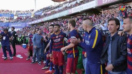 Atrás das câmeras! Veja a comemoração completa dos jogadores do Barcelona após a conquista do Campeonato Espanhol!