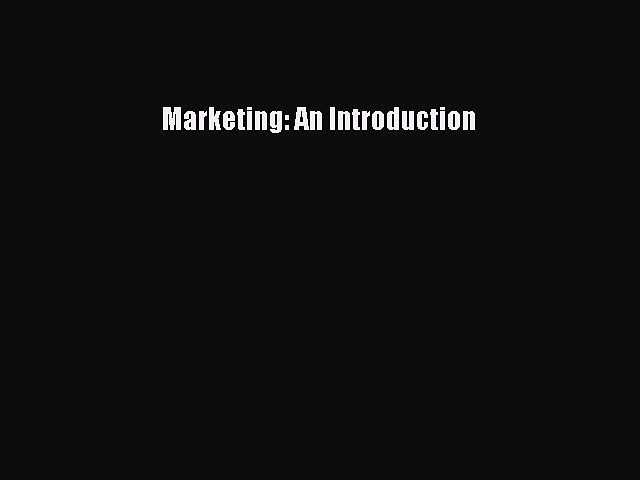 Read Marketing: An Introduction Ebook Free