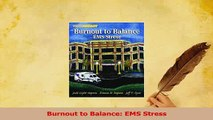 Read  Burnout to Balance EMS Stress Ebook Free