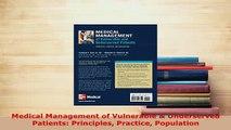 Read  Medical Management of Vulnerable  Underserved Patients Principles Practice Population Ebook Free