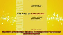 READ book  The ABCs of Evaluation Timeless Techniques for Program and Project Managers Online Free