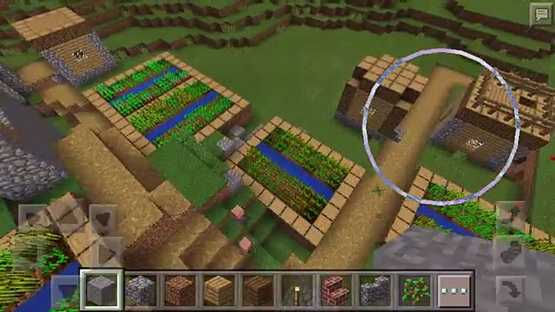 Minecraft PE seed with village and stronghold at spawn!