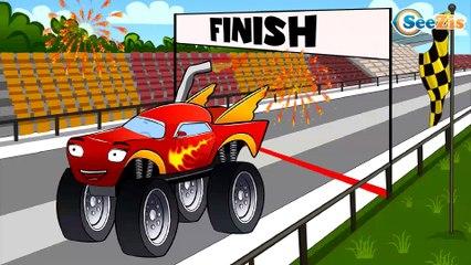 Car Cartoons for kids. Monster Truck. Racing Cars Crazy Race & little Car. Police Car. Episode 82