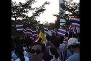 Thailand national anthem, JJ market, BKK, April 24, 2010