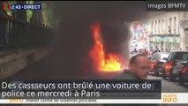 Paris : des casseurs brûlent une voiture de police