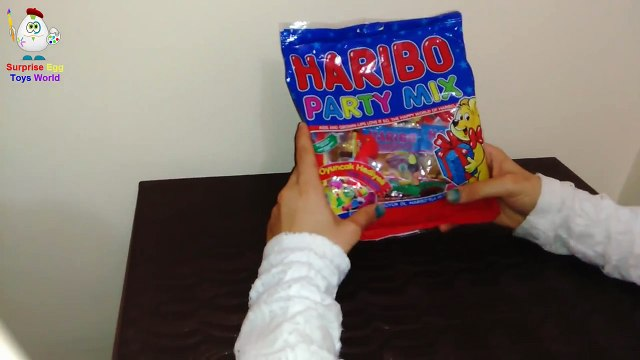 Surprise Eggs Haribo Unboxing / Kinder Toys Boxed Haribo / Fruit Jelly Candy Box