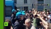Des «antifas» tiennent une contre-protestation en réponse à l'extrême droite à Rome