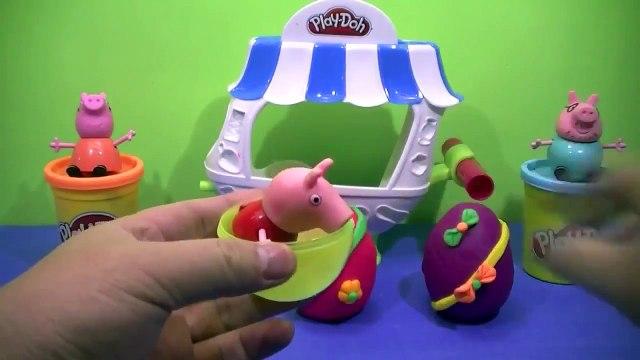 PLAY DOH FUN SURPRISE!! kinder surprise eggs Lego Peppa Pig videos #42