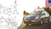 Google patents adhesive layer that sticks pedestrians to the hood of self-driving cars during accidents