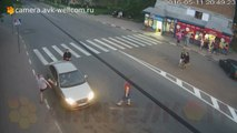 A Russian breaks a car after being pulled over