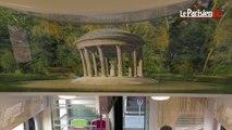 Le RER C customisé avec des images du château de Versailles