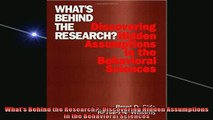 Free PDF Downlaod  Whats Behind the Research Discovering Hidden Assumptions in the Behavioral Sciences  DOWNLOAD ONLINE