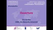 Quel avenir pour l'enseignement professionnel ? - Discours d'ouverture d'Eric Verdier, CNRS, Université d'Aix-Marseille