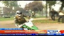 Estudiantes chilenos chocaron en medio de protestas contra carabineros en el centro de Santiago