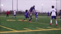 Footballer With A Crazy Air Tackle Takes Out His Teammate!
