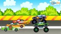 ✔ Dessins animé voiture. Voiture de course, Le Camion Monstre pour enfants. Tiki Taki Voitures ✔