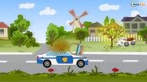 Voiture de police, Camion de pompiers, Grue. Dessins animé voiture. Tiki Taki Dessins Animes
