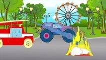 Arabalar çizgi filmleri. Monster Truck - Polis arabası. Eğitici çizgi film. Çocuklar için arabalar