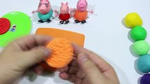 Play Doh - Create Clay Biscuit VS Cookie Rainbow With Peppa Pig Español 2016 - Toys and me