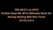 DRS 66421 on 0Z39 Purfleet Deep Wtr Wf (Flt) to Willesden Brent Drs Passing Barlong 29/03/2014