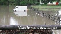 Inondations en Ile-de-France : routes, champs et habitations sous l'eau