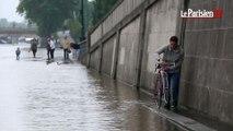 Les voies sur berge inondées dans Paris