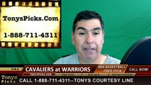Golden St Warriors vs. Cleveland Cavaliers Free Pick Prediction Game 1 NBA Pro Basketball Finals Odds Preview