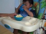 Kaden Drinking His Milk From A Cup, Like A Big Boy
