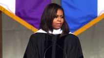 Michelle Obama slips warning against Trump into final commencement address